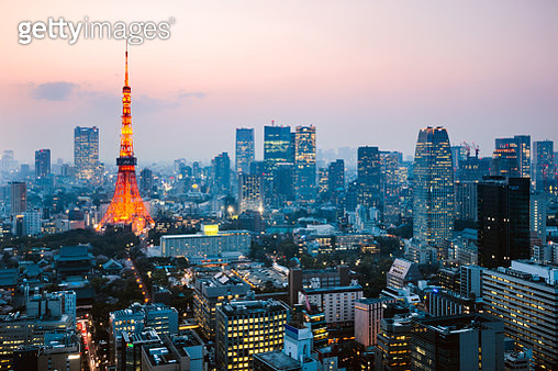Tokyo tower and city at dusk, Tokyo, Japan - gettyimageskorea