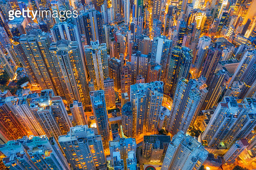 Aerial view of Hong Kong Downtown, Republic of China. Financial district and business centers in smart city in Asia. Top view of skyscraper and high-rise buildings - gettyimageskorea