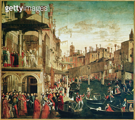 <b>Title</b> : The Miracle of the Relic of the True Cross on the Rialto Bridge, 1494 (oil on canvas) (see also 119437)<br><b>Medium</b> : oil on canvas<br><b>Location</b> : Galleria dell' Accademia, Venice, Italy<br> - gettyimageskorea