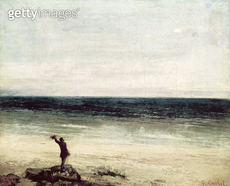 <b>Title</b> : The Artist on the Seashore at Palavan (oil on canvas)<br><b>Medium</b> : oil on canvas<br><b>Location</b> : Musee Fabre, Montpellier, France<br> - gettyimageskorea