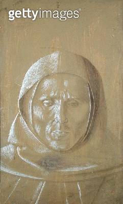 <b>Title</b> : Face of a Monk (gouache on paper)Additional InfoMoine vu en buste de face regardant; formerly attributed to Fra Angelico;<br><b>Medium</b> : gouache on paper<br><b>Location</b> : Musee Conde, Chantilly, France<br> - gettyimageskorea