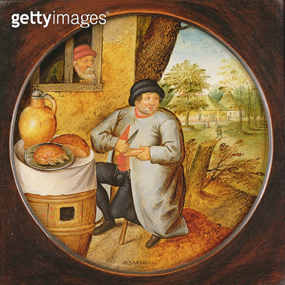 <b>Title</b> : The Man who Cuts Wood and Meat with the Same Knife (oil on panel)<br><b>Medium</b> : oil on panel<br><b>Location</b> : Private Collection<br> - gettyimageskorea