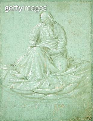 <b>Title</b> : A Seated Evangelist Reading, study for the Sistine Chapel (pen & ink on paper)Additional Infoformerly attributed to Fra Angelico<br><b>Medium</b> : pen and ink on paper<br><b>Location</b> : Musee Conde, Chantilly, France<br> - gettyimageskorea