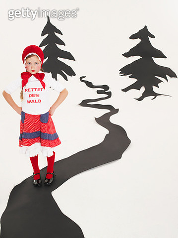 Portrait of little girl dressed up as Red Riding Hood - gettyimageskorea