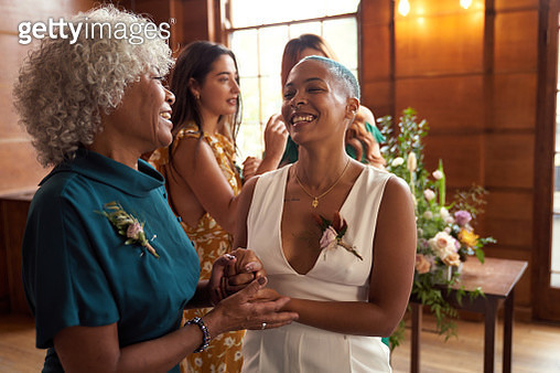 Lesbian wedding with friends and parents - gettyimageskorea