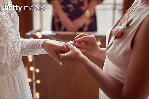 Lesbian same sex wedding, ring exchange - gettyimageskorea