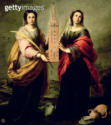 <b>Title</b> : St. Justina and St. Rufina, 1675 (oil on canvas)<br><b>Medium</b> : oil on canvas<br><b>Location</b> : Museo de Bellas Artes, Seville, Spain<br> - gettyimageskorea