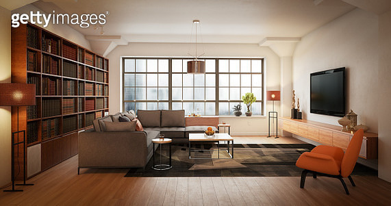Digitally generated elegant and modern loft interior scene (living room).  The scene was rendered with photorealistic shaders and lighting in Autodesk® 3ds Max 2016 with V-Ray 3.6 with some post-production added. - gettyimageskorea