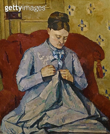 <b>Title</b> : Madame Cezanne sewing<br><b>Medium</b> : oil on canvas<br><b>Location</b> : Private Collection<br> - gettyimageskorea