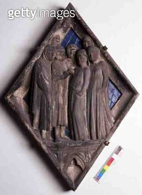 <b>Title</b> : Marriage, relief tile from the Campanile (marble and ceramic)<br><b>Medium</b> : marble and ceramic<br><b>Location</b> : Museo dell' Opera del Duomo, Florence, Italy<br> - gettyimageskorea