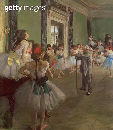 <b>Title</b> : The Dancing Class, c.1873-76 (oil on canvas)<br><b>Medium</b> : oil on canvas<br><b>Location</b> : Musee d'Orsay, Paris, France<br> - gettyimageskorea