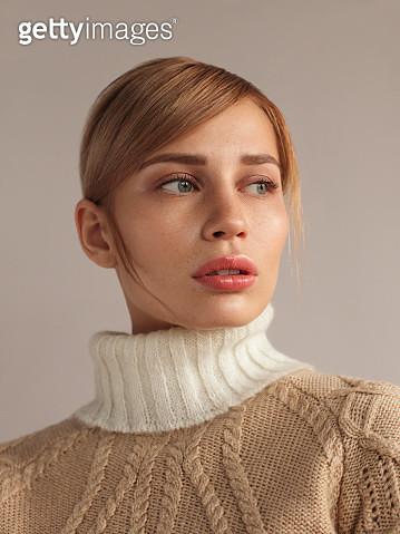 Young beautiful woman in knitwear - gettyimageskorea