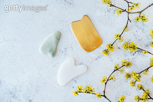 A variety of gua sha scrapers and yellow flowers on a branch - gettyimageskorea