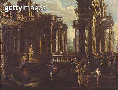 A capriccio of classical ruins with a warrior/ a satyr and Cupid chasing a nymph - gettyimageskorea