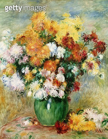 <b>Title</b> : Bouquet of Chrysanthemums, c.1884 (oil on canvas)<br><b>Medium</b> : oil on canvas<br><b>Location</b> : Musee des Beaux-Arts, Rouen, France<br> - gettyimageskorea