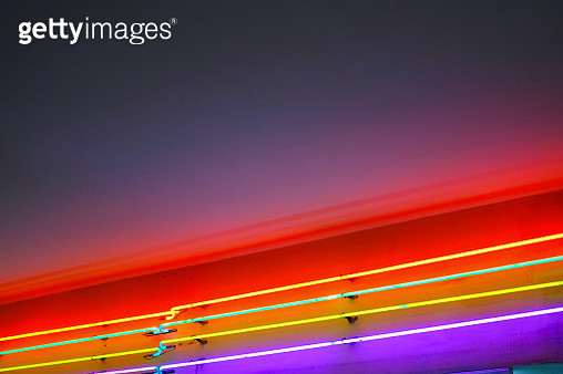 Low Angle View Of Illuminated Colorful Lights At Night - gettyimageskorea
