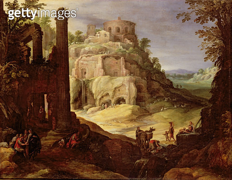 An Italianate landscape with classical ruins and washerwomen by a stream in the foreground - gettyimageskorea