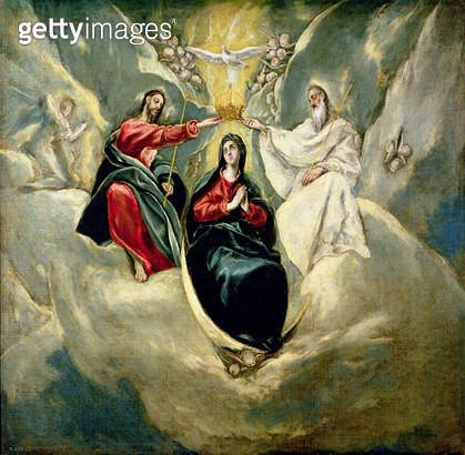 <b>Title</b> : The Coronation of the Virgin, c.1591-92 (oil on canvas)<br><b>Medium</b> : oil on canvas<br><b>Location</b> : Prado, Madrid, Spain<br> - gettyimageskorea