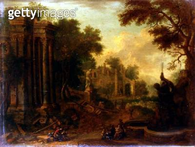 Wooded landscape with travellers resting by classical ruins (one of a pair) - gettyimageskorea