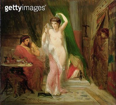 <b>Title</b> : Candaule, King of Lydia, Showing the Beauty of his Queen to his Confidant Gyges, 1850 (oil on panel)<br><b>Medium</b> : oil on panel<br><b>Location</b> : Private Collection<br> - gettyimageskorea