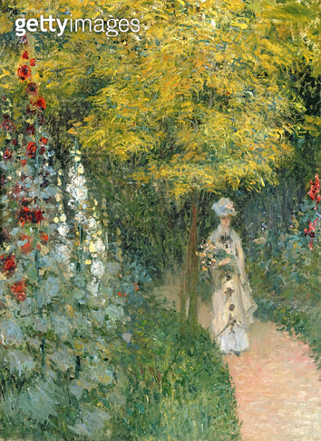 <b>Title</b> : Rose Garden, 1876 (oil on canvas)<br><b>Medium</b> : oil on canvas<br><b>Location</b> : Private Collection<br> - gettyimageskorea