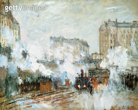 <b>Title</b> : Exterior of the Gare Saint-Lazare, Arrival of a Train, 1877 (oil on canvas)Additional InfoExterieur de la Gare Saint-Lazare, Arr<br><b>Medium</b> : oil on canvas<br><b>Location</b> : Private Collection<br> - gettyimageskorea