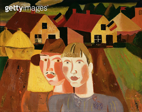 The Couple in the Village/ c.1930 (oil on canvas) - gettyimageskorea