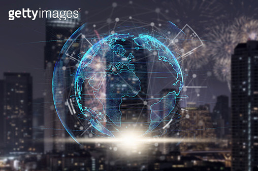Technology and innovation concept, particle earth with technology network circle over the photo blurred of cityscape background - gettyimageskorea
