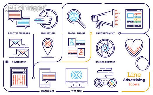 Advertising & Promotion Line Icon Set - gettyimageskorea