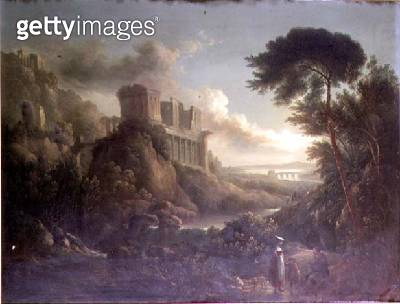 Extensive moonlit rocky river landscape with figures in the foreground and classical ruins beyond - gettyimageskorea