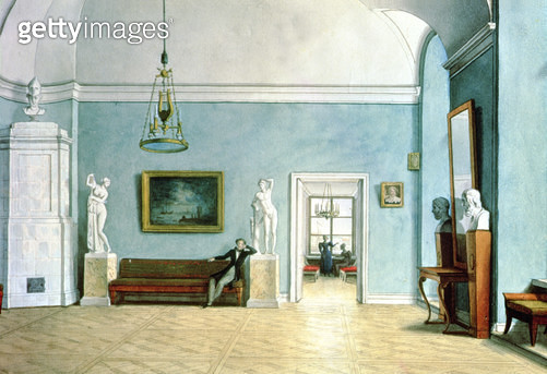 <b>Title</b> : Neo-Classical Interior, c.1820 (w/c on paper)<br><b>Medium</b> : watercolour on paper<br><b>Location</b> : Tretyakov Gallery, Moscow, Russia<br> - gettyimageskorea