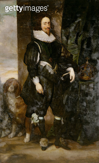 <b>Title</b> : Portrait of  King Charles I wearing the order of the garter, with a dog by his sideAdditional InfoCharles I (1600-49): wearing t<br><b>Medium</b> : <br><b>Location</b> : Private Collection<br> - gettyimageskorea