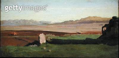 <b>Title</b> : Italian Landscape, c.1826 (oil on panel)<br><b>Medium</b> : oil on panel<br><b>Location</b> : Private Collection<br> - gettyimageskorea
