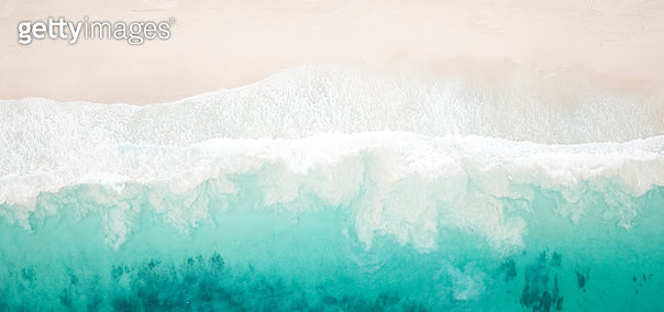 Paradise Beach and Waves from Above - gettyimageskorea