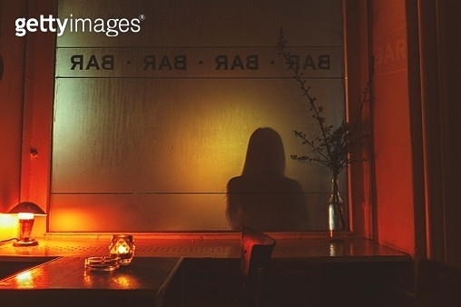 Shadow Of Woman On Glass In Bar - gettyimageskorea