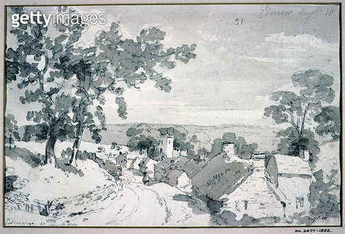 <b>Title</b> : The Entrance to the Village of Edensor<br><b>Medium</b> : <br><b>Location</b> : Victoria & Albert Museum, London, UK<br> - gettyimageskorea