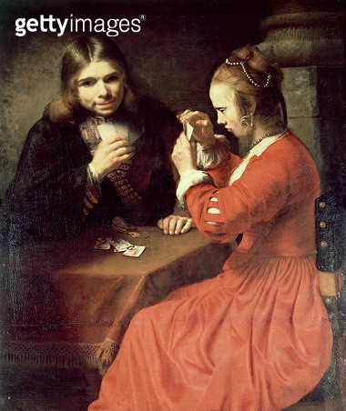 <b>Title</b> : A Young Man and a Girl Playing Cards (oil on canvas)Additional Infomost recent possible attribution is to Cornelis Bisschop (163<br><b>Medium</b> : oil on canvas<br><b>Location</b> : National Gallery, London, UK<br> - gettyimageskorea