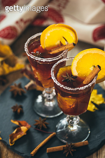 Autumn Mulled wine with juicy orange and spices - gettyimageskorea