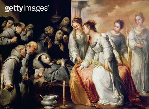 <b>Title</b> : The Death of St. Clare (oil on canvas)Additional Infofounder of the Order of Poor Clares;<br><b>Medium</b> : <br><b>Location</b> : Hermitage, St. Petersburg, Russia<br> - gettyimageskorea