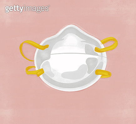 White face mask isolated on textured background. - gettyimageskorea