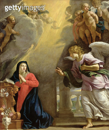 <b>Title</b> : The Annunciation (oil on canvas)<br><b>Medium</b> : oil on canvas<br><b>Location</b> : Musee des Beaux-Arts, Caen, France<br> - gettyimageskorea
