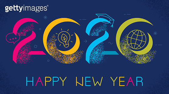 Happy New year 2020 greeting card depicting E Learning concept. - gettyimageskorea
