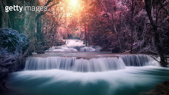 Huay mae khamin waterfall, this cascade is emerald green and popular in Kanchanaburi province, Thailand. - gettyimageskorea