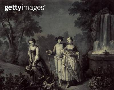 <b>Title</b> : Two girls and a youth gardening near a fountain (b/w pen and wash)<br><b>Medium</b> : pen and wash<br><b>Location</b> : British Library, London, UK<br> - gettyimageskorea
