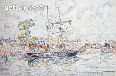 <b>Title</b> : Paimpol, 1930 (w/c with pencil on paper)<br><b>Medium</b> : watercolour with pencil on paper<br><b>Location</b> : Private Collection<br> - gettyimageskorea
