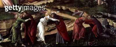 <b>Title</b> : Mystic Nativity (oil on canvas) (detail of 22825)<br><b>Medium</b> : oil on canvas<br><b>Location</b> : National Gallery, London, UK<br> - gettyimageskorea