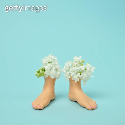 Plastic feet filled with flowers - gettyimageskorea