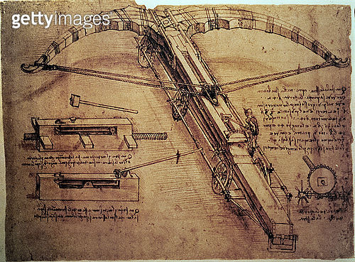 Giant catapult, c.1499 (drawing) - gettyimageskorea