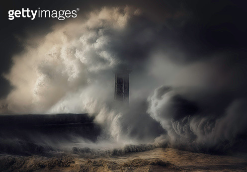 Waves crashing against a lighthouse and sea wall, italy - gettyimageskorea