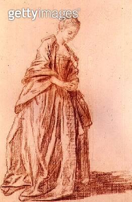 Draped female figure (drawing) - gettyimageskorea